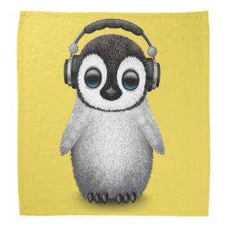 Cute Baby Penguin Dj Wearing Headphones Bandanas