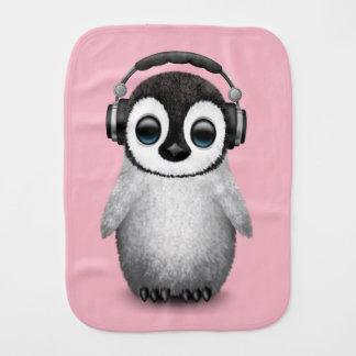 Cute Baby Penguin Dj Wearing Headphones Burp Cloth