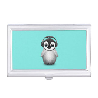 Cute Baby Penguin Dj Wearing Headphones Business Card Holder