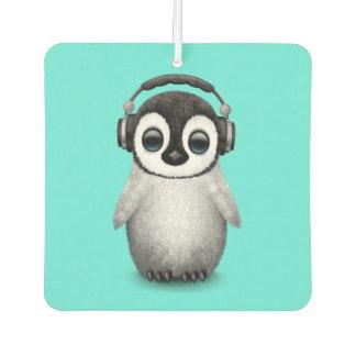 Cute Baby Penguin Dj Wearing Headphones Car Air Freshener