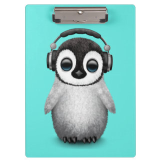 Cute Baby Penguin Dj Wearing Headphones Clipboard