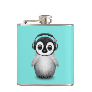 Cute Baby Penguin Dj Wearing Headphones Hip Flask