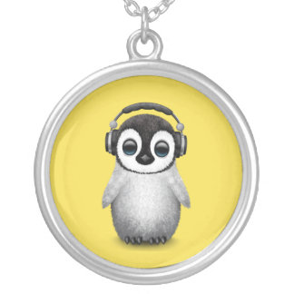 Cute Baby Penguin Dj Wearing Headphones Silver Plated Necklace