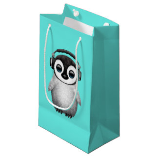 Cute Baby Penguin Dj Wearing Headphones Small Gift Bag