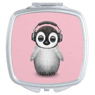 Cute Baby Penguin Dj Wearing Headphones Travel Mirror
