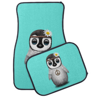 Cute Baby Penguin Hippie Car Mat