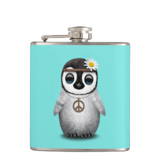 Cute Baby Penguin Hippie Hip Flask