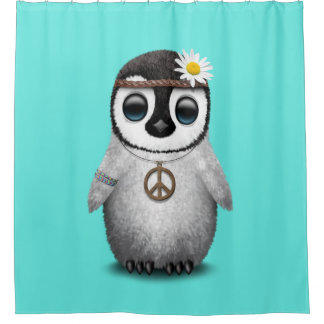 Cute Baby Penguin Hippie Shower Curtain