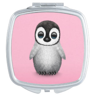Cute Baby Penguin on Pink Makeup Mirrors