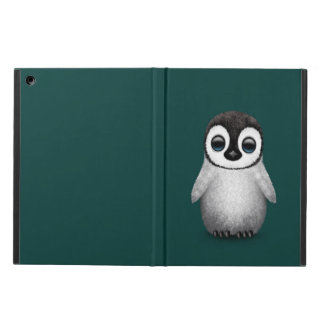 Cute Baby Penguin on Teal Blue iPad Air Covers