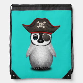 Cute Baby Penguin Pirate Drawstring Bag
