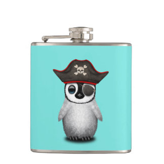 Cute Baby Penguin Pirate Hip Flask