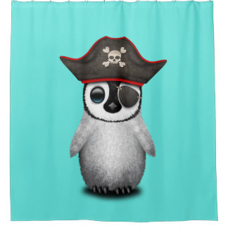 Cute Baby Penguin Pirate Shower Curtain