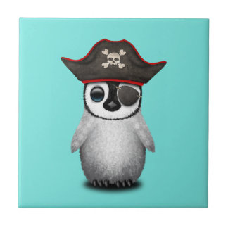 Cute Baby Penguin Pirate Small Square Tile