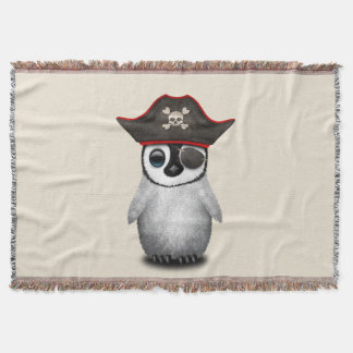 Cute Baby Penguin Pirate Throw Blanket