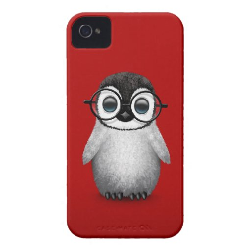 Cute Baby Penguin Wearing Eye Glasses on Red iPhone 4 Case-Mate Case