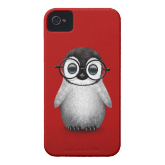 Cute Baby Penguin Wearing Eye Glasses on Red iPhone 4 Cases