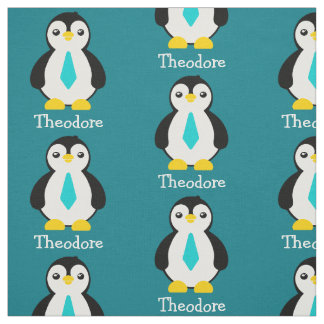 Cute Baby Penguins with Blue Neckties Fabric