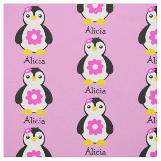 Cute Baby Penguins with Pink Flowers Fabric