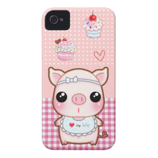 Cute baby piggy and kawaii cupcakes Case-Mate iPhone 4 case