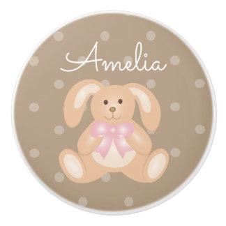 Cute Baby Pink Bunny Rabbit Sweet Girls Nursery Ceramic Knob