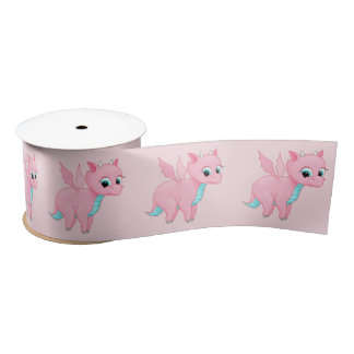 Cute Baby Pink Dragon Satin Ribbon
