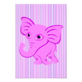 Cute Baby Pink Elephant With Curling Trunk Photo