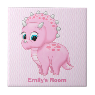 Cute Baby Pink Triceratops Dinosaur Tile