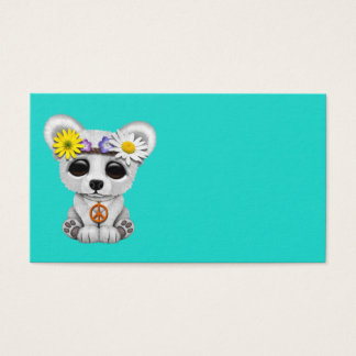 Cute Baby Polar Bear Cub Hippie Business Card