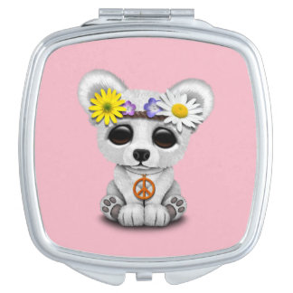 Cute Baby Polar Bear Cub Hippie Compact Mirror