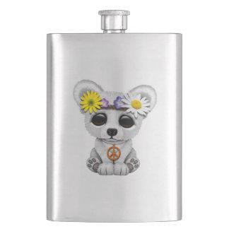Cute Baby Polar Bear Cub Hippie Hip Flask
