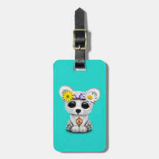 Cute Baby Polar Bear Cub Hippie Luggage Tag