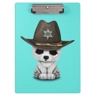 Cute Baby Polar Bear Cub Sheriff Clipboard