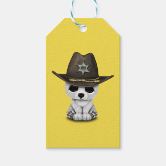 Cute Baby Polar Bear Cub Sheriff Gift Tags