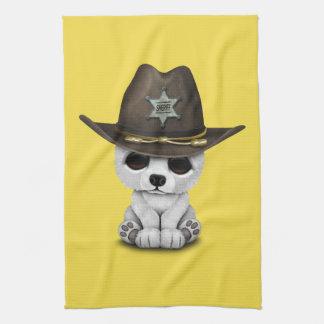 Cute Baby Polar Bear Cub Sheriff Tea Towel