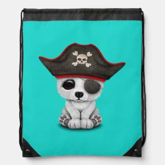 Cute Baby Polar Bear Pirate Drawstring Bag