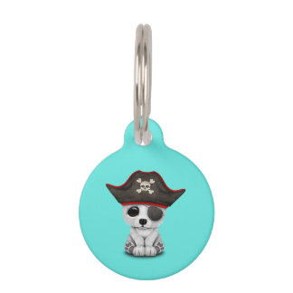 Cute Baby Polar Bear Pirate Pet Tag