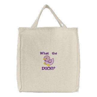 Cute Baby Purple Duck, What the DUCK!? Embroidered Tote Bag