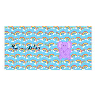 Cute baby purple elephant picture card