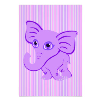 Cute Baby Purple Elephant With Curling Trunk Photo Art