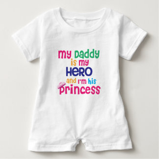 Cute baby quote Hero daddy and princess daughter Baby Bodysuit