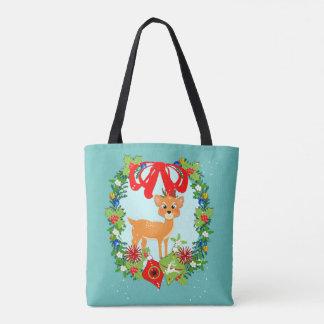 Cute Baby Reindeer Christmas Wreath Festive Tote Bag