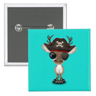 Cute Baby Reindeer Pirate 15 Cm Square Badge