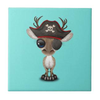 Cute Baby Reindeer Pirate Ceramic Tile