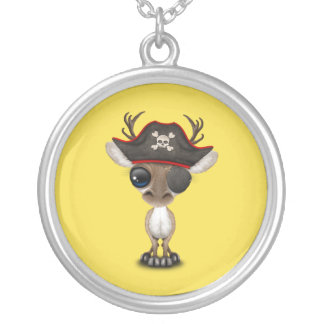 Cute Baby Reindeer Pirate Silver Plated Necklace