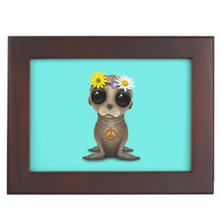 Cute Baby Sea Lion Hippie Keepsake Box