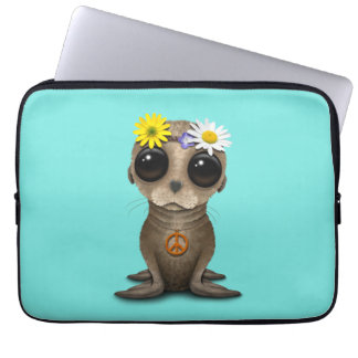Cute Baby Sea Lion Hippie Laptop Sleeve