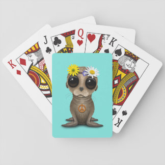 Cute Baby Sea Lion Hippie Playing Cards