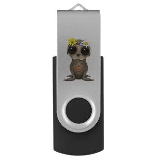 Cute Baby Sea Lion Hippie USB Flash Drive