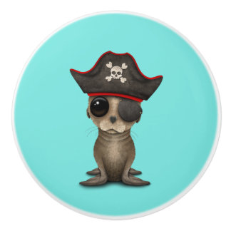 Cute Baby Sea lion Pirate Ceramic Knob